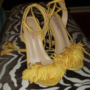 Yellow fringe heels